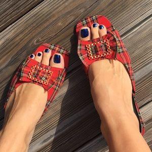Vintage plaid mini heels